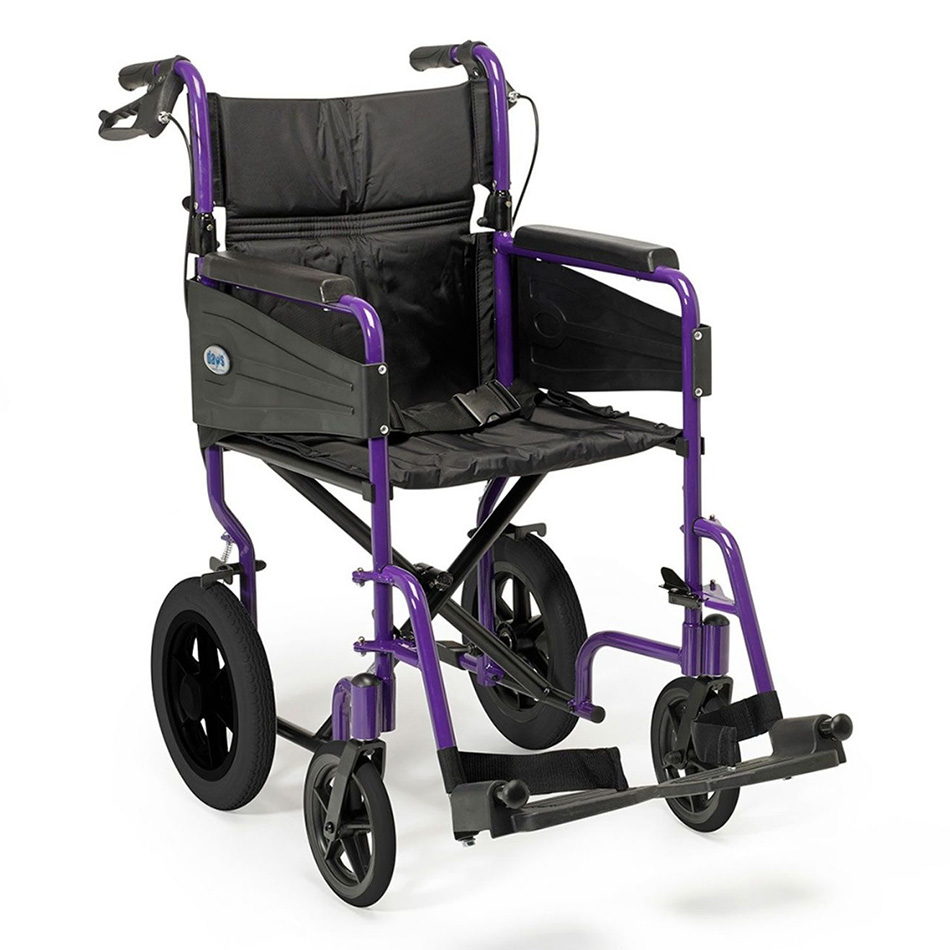 Wheelchair with purple frame and black wheels