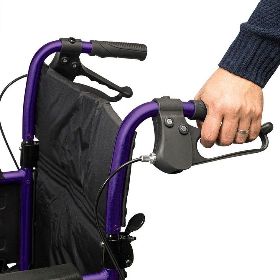 Wheelchair handles with brakes