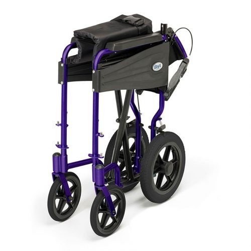 Folded wheelchair with purple frame and black wheels