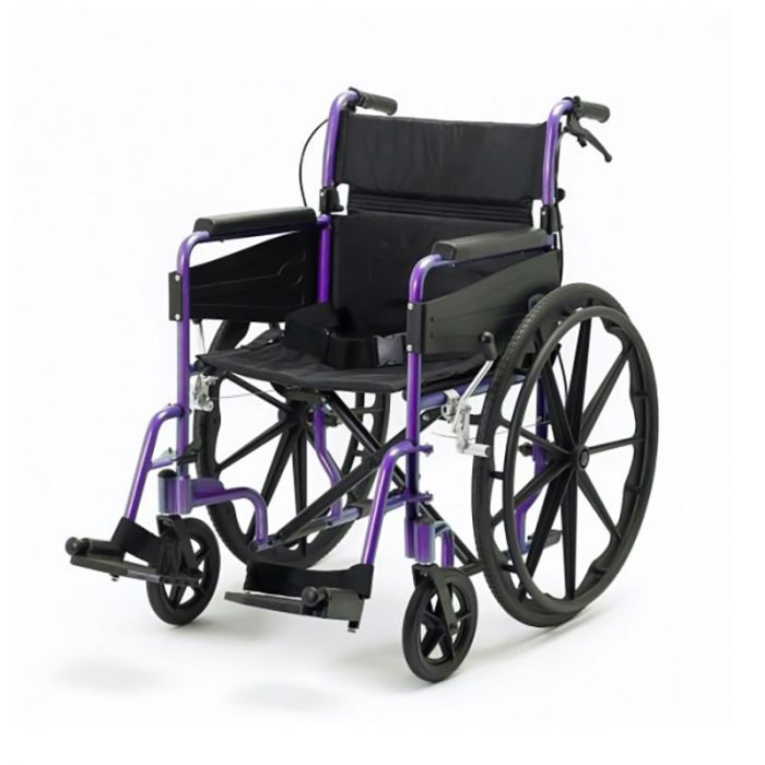 Wide Wheelchair with Purple Frame