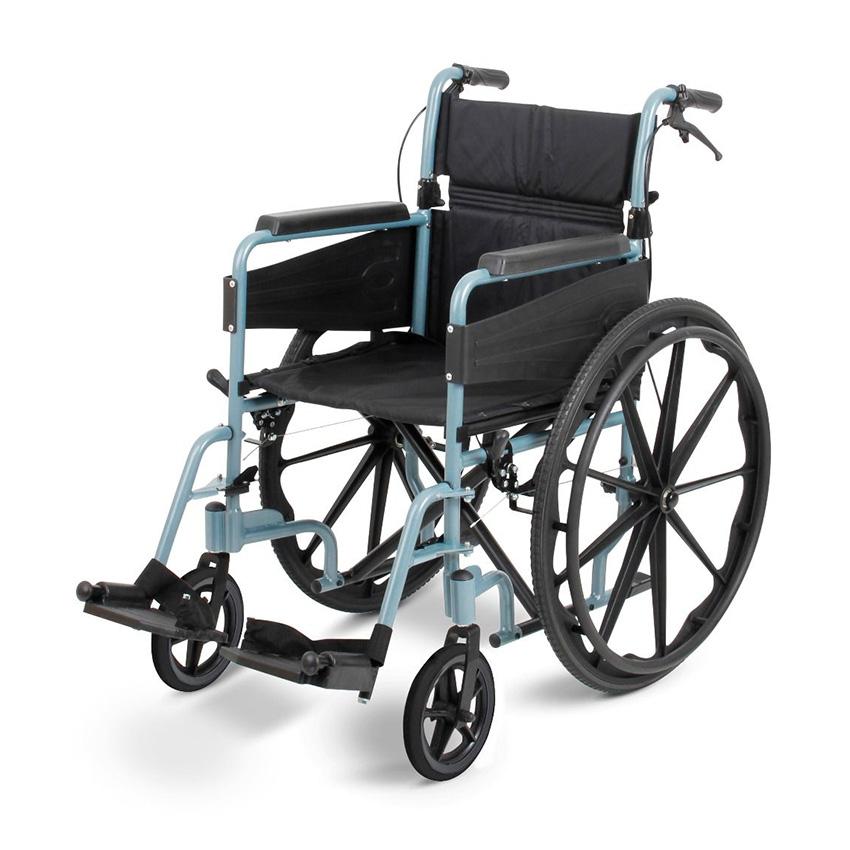 Narrow Wheelchair with Silver Frame