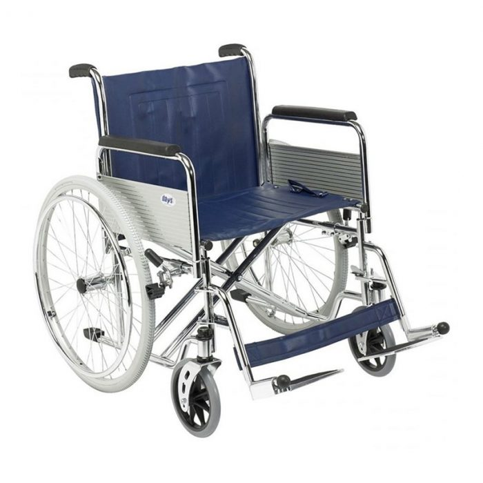 Heavy duty, self-propelled wheelchair with large rear wheels