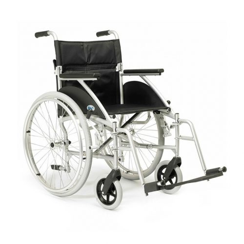 Wheelchair with footrests, silver frame and large rear wheels