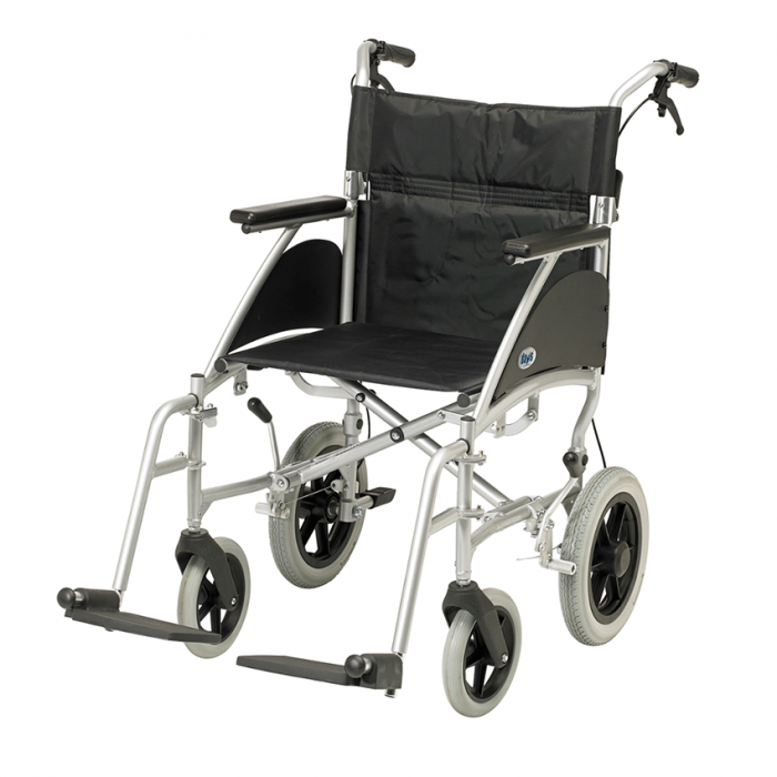 Wheelchair with footrests and silver frame