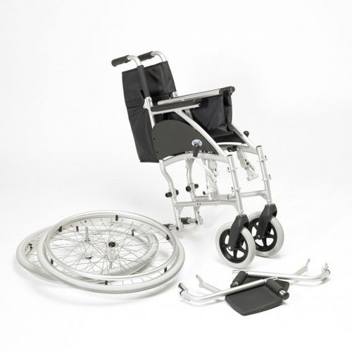 Dismantled wheelchair with wheels and footrests removed