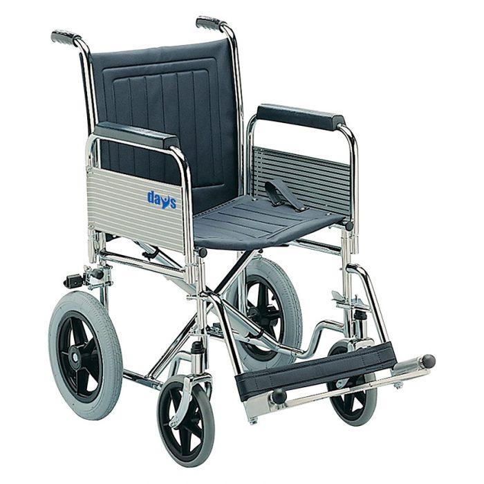 Heavy Duty Transit Wheelchair with Dark Upholstery