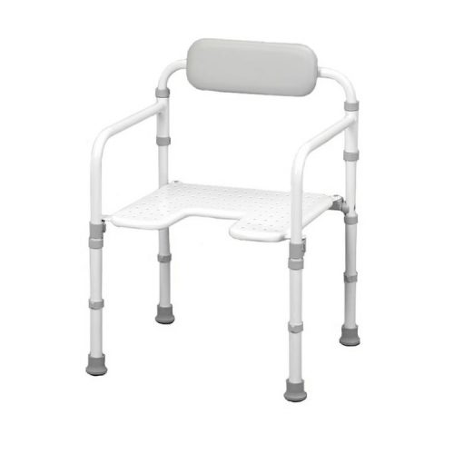 Open shower chair with rubber feet