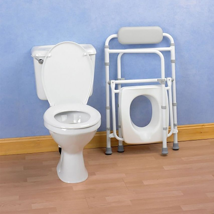 Toilet with compact closed toilet frame beside