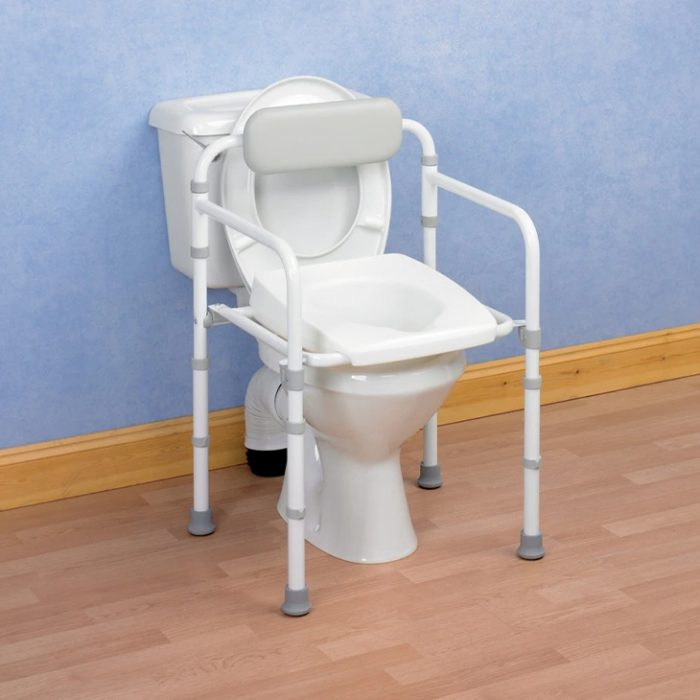 Toilet with toilet frame and seat over