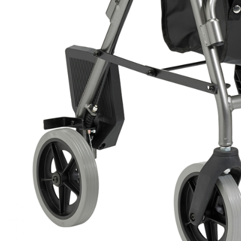 Transfer rollator wheel and footrest