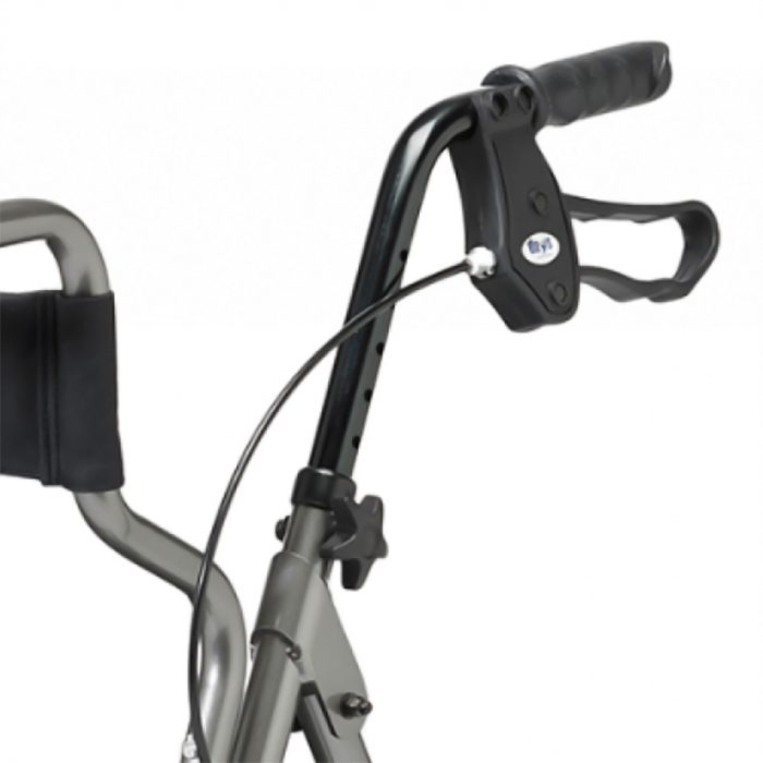 Braked handle of rollator transfer chair