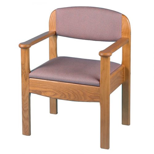 Hardwood commode armchair with pink upholstery